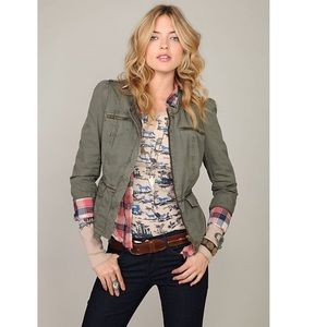 FREE PEOPLE military style jacket w/puff sleeves